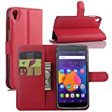 Fettion Alcatel OneTouch Idol 3 (5.5) Case, Premium PU Leather Wallet Flip Case Cover with Stand Card Holder for Alcatel OneTouch Idol 3 Mobile Phone (5.5 Inch Version) (Wallet - Red)