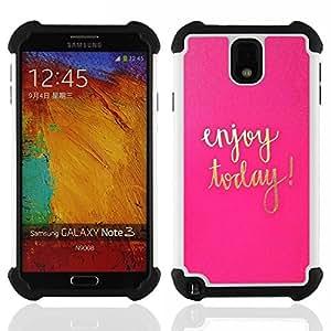 """SAMSUNG Galaxy Note 3 III / N9000 / N9005 - 3 en 1 impreso colorido de Altas Prestaciones PC Funda chaqueta Negro cubierta gel silicona suave (Hoy texto motivación oro rosa"""")"""