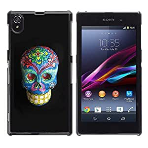 Ihec Tech Floral muerte del gris del cráneo azul Huesos / Funda Case back Cover guard / for Sony Xperia Z1 L39