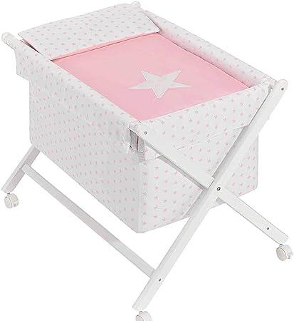 danielstore- Minicuna Plegable + Vestidura (Colcha-Cojín y Protector) + Colchon + Babero de regalo (Estrella rosa)