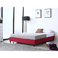 Home Life Cloth Red Linen Chinese Non Headboard Platform Bed with Slats, Twin, Burgundy