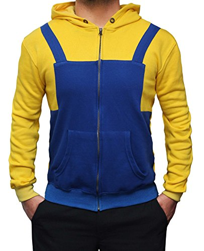 Miracle(Tm) Despicable Me Men's Minions Hoodies - Yellow and Blue Men's Hoodie (Large) (Sweatshirt Mens Minion)
