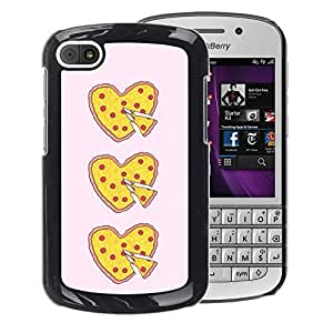A-type Arte & diseño plástico duro Fundas Cover Cubre Hard Case Cover para BlackBerry Q10 (Pizza I Love Food Yellow Pink Heart)