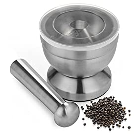 Comfecto 18/8 Stainless Steel Mortar and Pestle Spice Grinding Pill Crusher with Lid for Crushing Grinding Design with Anti Slip Base and Comfy Grip 1 GRINDS PILLS WITH EASE --- Taking pills is not easy for children who contracted with a special disease, so you should be more creative to make it easy. Make it soft by crushing them with our mortar and pestle, so you can mix it with smoothies! ATTRACTIVE STAINLESS STEEL AND LID --- The others said that it is difficult to crush or grind when it easy to bounce, or maybe afraid to break the mortar. It's no more with 18/8 stainless steel and high-quality silicon lid! This spice grinder is not too heavy nor too light. NO MORE SLIP GRINDER --- With 304 anti-skid base will lock your grinder mortar securely. The interior of the mortar is deep and curved smoothly and the pestle is super comfy to grip and has a great grinding tip. Get fun grinding spice or crushing pill anytime.
