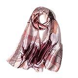 Luxury Designer Silk Feeling Women's Scraf Female Summer Long Shawl Wrap Pashmina Beach Stoles Hijabs (Pattern F C01)