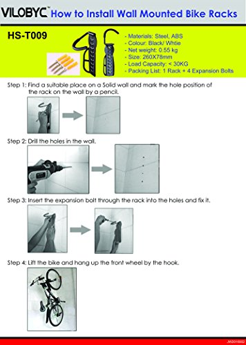 2PCS Bike Rack Garage Wall Mount Bike Hanger Storage System Vertical Bike Hook for Indoor Shed Easily Hang/Detach Heavy Duty Holds up to 65 lb with Screws Black by VILOBYC (Image #4)