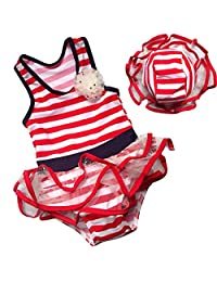 Cartoon Duck-Baby Girls Chiffon Bow Top Tutu 2Piece Tankini Swimsuit Swimwear