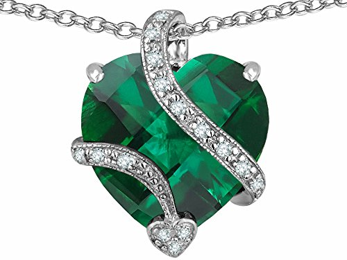 Star K Large 15mm Heart Shaped Simulated Emerald Pendant Necklace Sterling Silver (Emerald Heart Shaped Pendant)