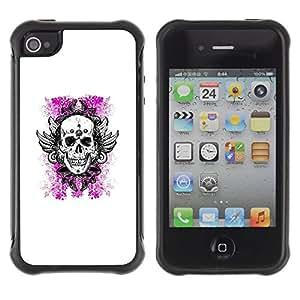 Suave TPU GEL Carcasa Funda Silicona Blando Estuche Caso de protección (para) Apple Iphone 4 / 4S / CECELL Phone case / / White Pink Floral Death Skull Wings /