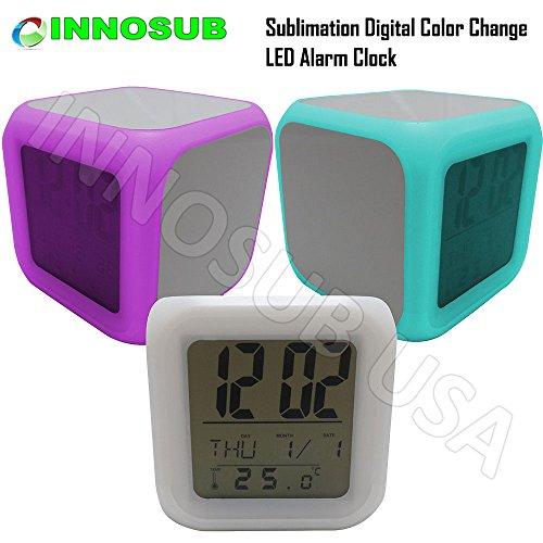 Sublimation Digital LED Color Change Alarm Clock with thermometer by INNOSUB Blank Clock