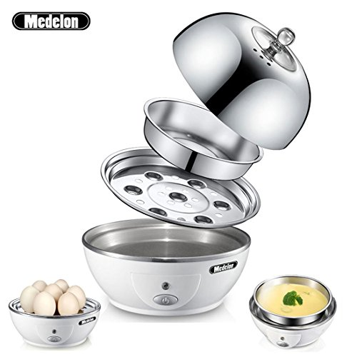 Stainless Steel Egg Poacher (Medelon Egg Boiler, Egg Cooker , Electric Egg Maker with Steamer & Poacher Attachment, Egg Steamer Stainless Steel 7 Egg Capacity With Removable Tray & Auto Shut Off Feature)