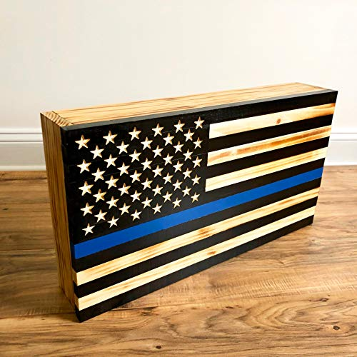 Wooden American Flag Thin Blue Line Gun and Valuable Hidden Storage, Magnetic Lock & Free Shipping, American Flag Gun Safe