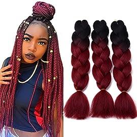 24″ Ombre Jumbo Braids Hair Black/Wine Red 100g/Pc High Temperature kanekalon Synthetic Braiding Hair Extensions 5Pcs/Lot