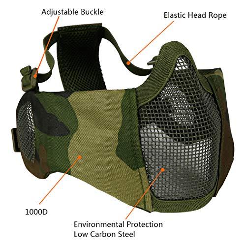 Masque Pliable Airsoft Mesh avec Protection Oreille et Casquette de Baseball Réglable Set pour CS/Chasse/Paintball/Tir 7