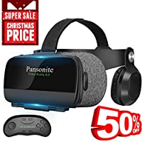 3D Virtual Reality Goggles with VR Controller,Eye Protection Mechanisms & Ultra Light Body, Compatible with 4.7-6.2 inches iOS/Android Smartphones (Black)