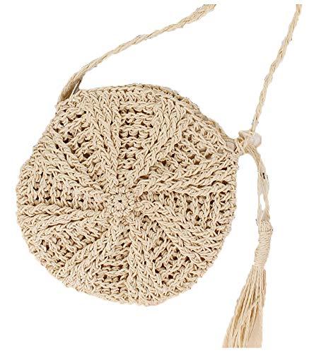 Epsion Boho Rattan Crochet Straw Woven Basket Handbag - Round Circle Crossbody/Shopper Beach Tote Bag for Summer