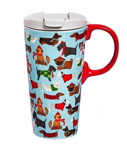 Cypress Home Festive Fidos Ceramic Travel Coffee Mug, 17 ounces