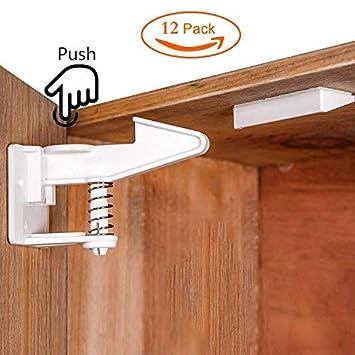 Surplex 10er Pack Kindersicherung Schrank Schloss Montage ohne Bohren und Schrauben Baby Sicherheit unsichtbare Schranksicherung f/ür Schubladen und Schrankt/üren wei/ß