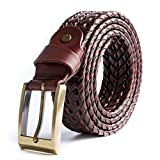 ECHAIN Men Braided Woven Genuine Leather Belt Brown