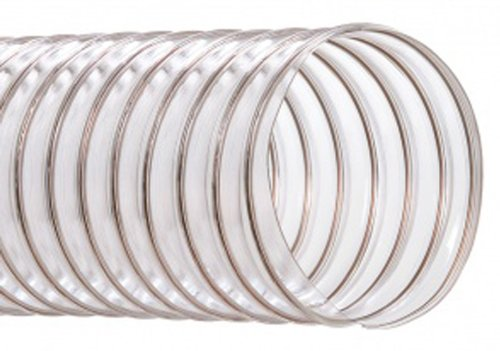 Hi-Tech Duravent CVD Series PVC Duct Hose, Wire Reinforced, Clear, 6'' ID, 50' Length