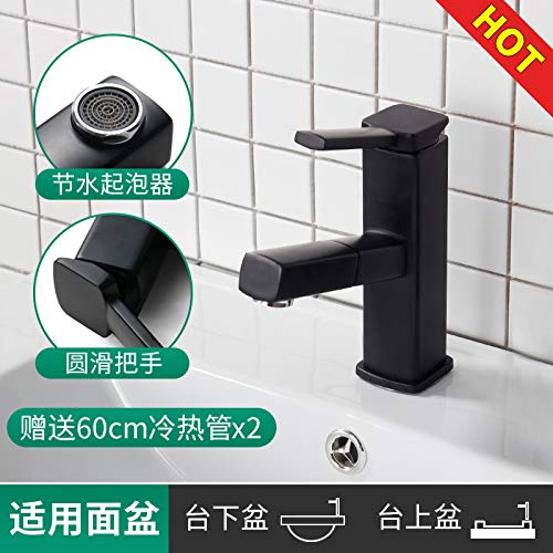 Guolaoer Faucet Hot And Cold Home Telescopic Pull-Out   Black