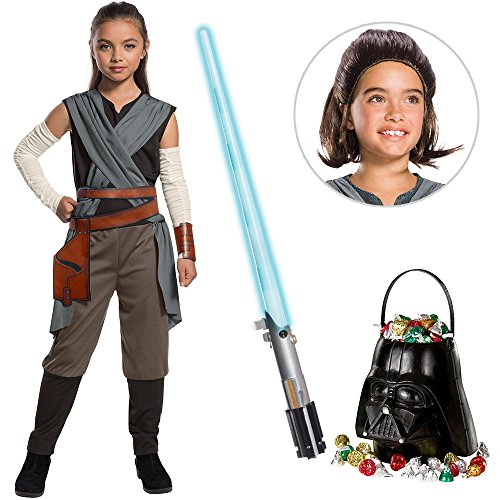 Star Wars Episode VIII: The Last Jedi - Girl's Rey Costume with Wig and Lightsaber Bundle - Large -