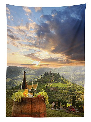 Tuscany Cherry Vanity (Winery Decor Tablecloth Vineyard in Chianti Tuscany Italy Autumn Sunrise with Sun Lights Bursting Through Clouds Dining Room Kitchen Rectangular Table Cover)