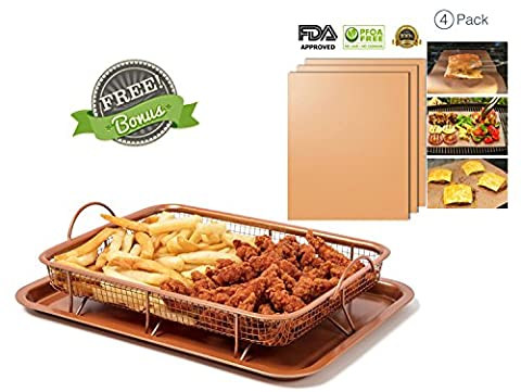 Copper Baking Sheet Air Fryer - Deluxe Multi-Purpose Copper Crisper Chef Pan Sheet with Non Stick Mesh Grill Crisper Tray As Seen on TV BONUS 4 Copper Grill Mats for BBQ Grilling, Baking and Oven (Crisper Trays)