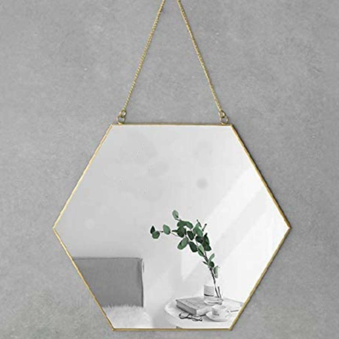 "Foo Foo Hanging Wall Mirror Decor, Gold Mirror Color, Hexagon Mirrors Wall Deco | Strong Chain and Hooks | Home Decor, Bathroom Mirror, Bedroom Mirror and Living Room | Size 11.8"" by 10.3"