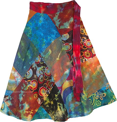 TLB Patchwork Multicolor Cotton Summer Short Skirt - L:24