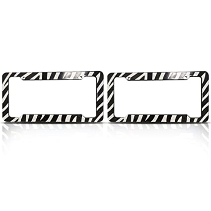 Amazon.com: Zebra License Plate Frames (Set of Two) Made of Plastic ...