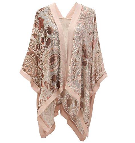 Boho Floral Burnout Velvet Kimono Front Opent Cardigan Velvet Poncho Cape Ruana Shawls ()