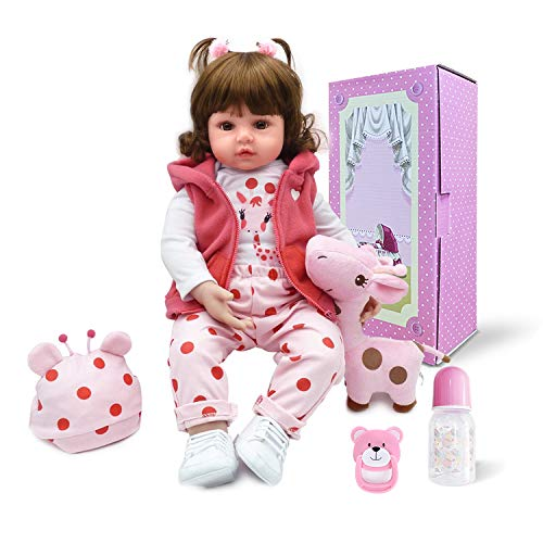 Pinky 18Inch 45cm Lifelike Reborn Baby Girl Dolls Soft Silicone Babies Realistic Looking Newborn Baby Dolls Cute Reborn Doll Toddler Handmade Child Birthday and Xmas Gift]()
