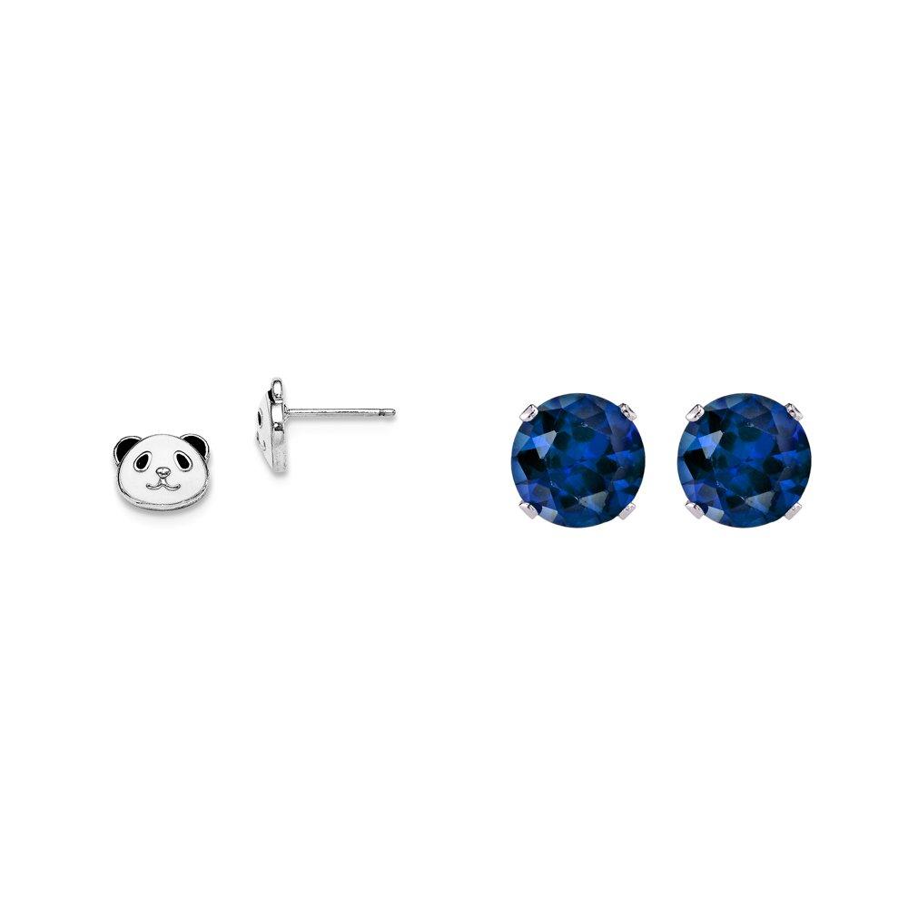 Madi K Sterling Silver Enameled Panda Bear Post Earrings and a pair of Blue 4mm CZ Stud Earrings