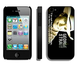 Popular And Durable Custom Designed Case For iPhone 4 With George Strait 3 Black Phone Case