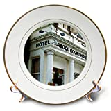 3dRose Jos Fauxtographee- London Watercolor Hotel - The Rasool Hotel in London Done in a Watercolor Effect - 8 inch Porcelain Plate (cp_291340_1)
