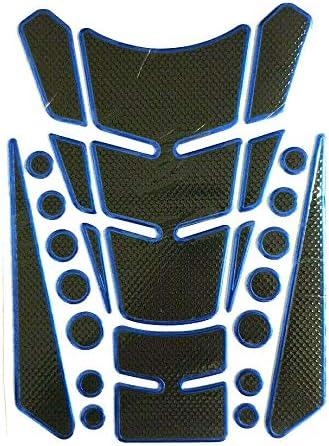 Tankpad Tankschutz Motorrad Carbon Optik Blau Schwarz Universal Mehrteilig Auto