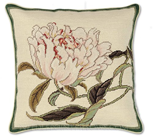 Handmade 100% Wool Decorative Needlepoint Floral Flower Peonies Throw Pillow. 18