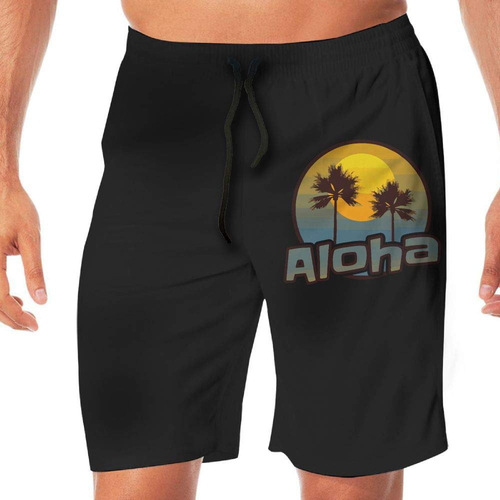YGE.I.L25 Men Surfing Boardshorts Retro Aloha Hawaii Summer Lightweight Beach Boardshort Adults Boys