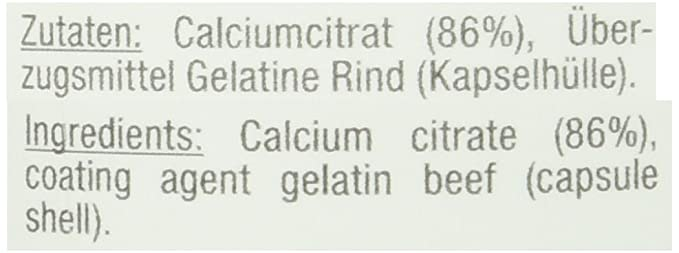 Citrato de calcio del citrato de calcio de Vitabay 1000 mg - 90 cápsulas