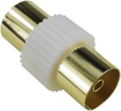 Bluecharge Direct Gold RF - Acoplador coaxial para antena de TV (conector hembra a conector F) blanco