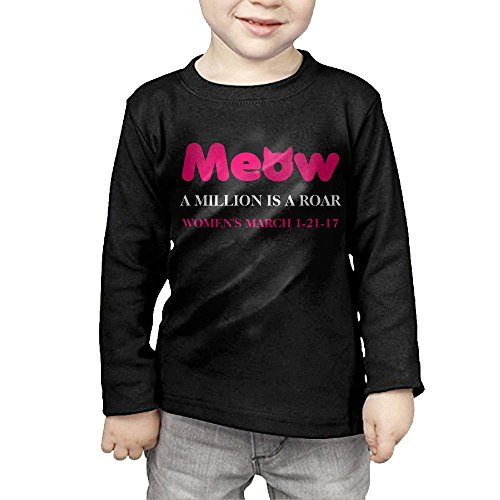 ZhiqianDF Boys' Meow Cat Ears Women's March Roar Casual Style Sports Black T Shirts 4 Toddler Long - Odd In March Holidays