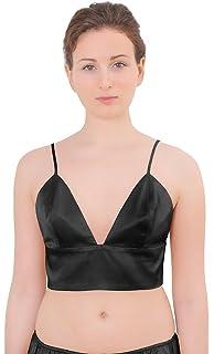 c6ab00b110a FRDMBeauty Women's Mulberry Silk Bralette Lined Halter Top Leopart ...