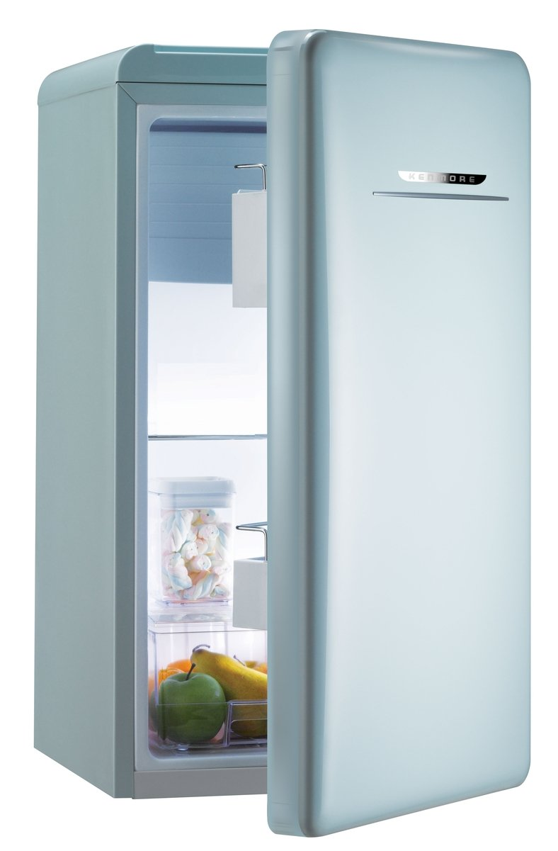 Mint green Kenmore mini refrigerator