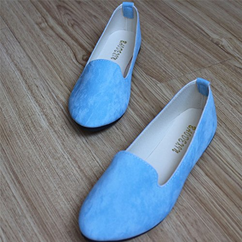 Elegante Y Bleu Clair Missmao Plates Casual Femme Depolie Simple Pointue Mode Ballerines T7xAYT0