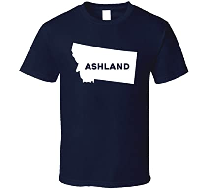 Ashland Montana Map.Amazon Com Ashland Montana City Map Usa Pride T Shirt Clothing