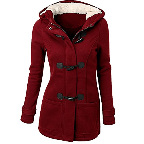 Womens Duffle Toggle Coat Long Wool Blended Hooded Pea Coat Jacket with Pockets Red S