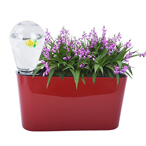 Vencer 12.4 inch Rectangle Self Watering Planter Plant Flowers Small Automatic Watering Bulbs+Vermiculite- for All House Plants,Herbs,African Violets,Succulents,Red,VF-051R by Vencer