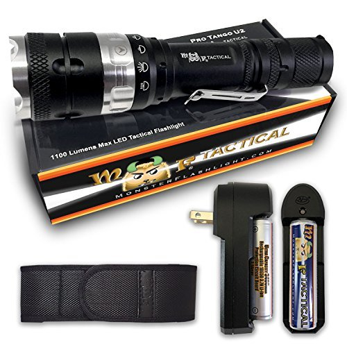 (MF Tactical Pro Tango U2 Rechargeable Tactical LED Flashlight Kit - 1100 Lumen Pro Grade Waterproof 5 Modes: High, Med, Low, Strobe & SOS. Includes Li-ion Rechargeable Battery, Charger, Holster & Clip)