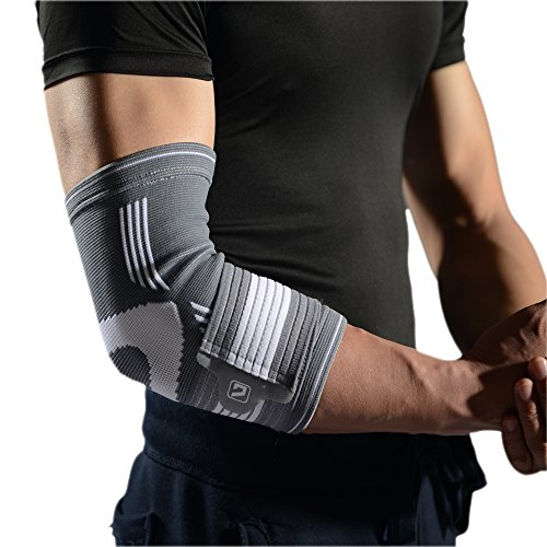 Liveup SPORTS Elbow Brace Compression Support Sleeve, Elbow Brace Compression Support Sleeve with Adjustable Elastic Bandage for Tendonitis Tennis Golf Elbow Treatment, L by Liveup SPORTS